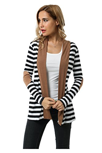 Aifer Womens Striped Long Sleeve Shawl Collar Elbow Patch Open Front Cardigan Sweater (Striped Cardigans For Women)