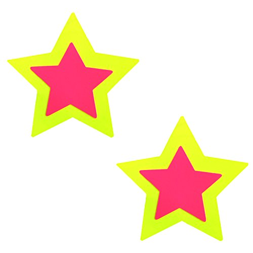 Neva Nude Blacklight Neon Yellow Double Starburst Star Nipztix Pasties Nipple Covers