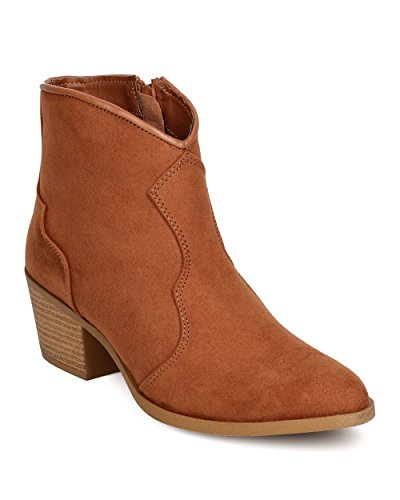 Pointy Toe Bootie - Qupid Women Faux Suede Pointy Toe Cowboy Bootie FF04 - Camel (Size: 8.5)