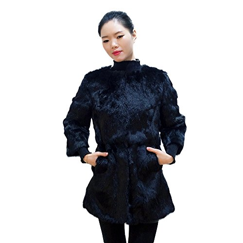 Manka Vesa Natural Real Rabbit Fur Women Winter Thick Warm Mid-Long Jackets 3/4 Sleeve Black - Genuine Rabbit Fur 3/4 Coat