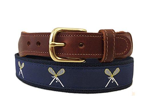 Preston Leather Navy Blue Crossed Lacrosse Sticks Belt (36)