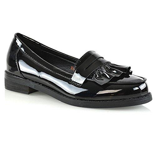 Essex Glam Kvinners Flate Penny Loafers Syntetiske Skinn Mocassin Sko Svart  Patent