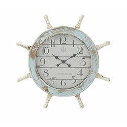 28 Inches Distressed Blue White Ship Wheel wall Clock Nautical Coean Sea Decor - Nagina International