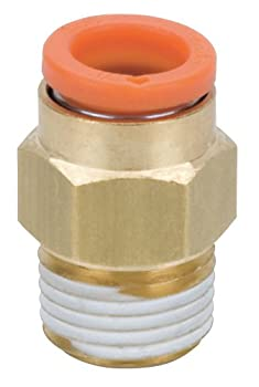 "SMC KQ2H07-35A Brass Push-to-Connect Tube Fitting, Adapter, 1/4"" Tube OD x 1/4"" NPT Male"