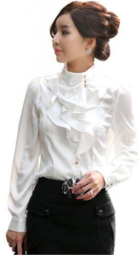 Double Plus Open DPO Women's Slim OL Ruffle Stand Collar Founcing Front Shirt Long Sleeve Blouse White -