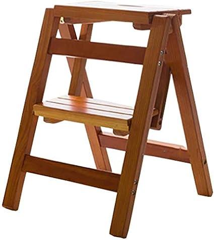 HOMRanger Escalera de Madera Taburete 2 peldaños Escalera Plegable Multifuncional Escalera con estantería Biblioteca de Cocina para el hogar, 150 kg de Capacidad (3 Colores) (Color: Nogal): Amazon.es: Hogar