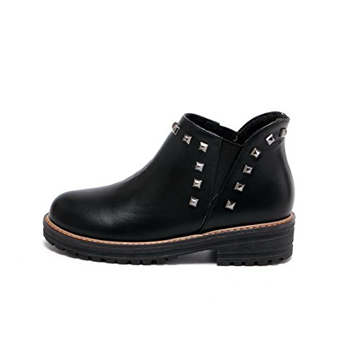 AmoonyFashion Womens Ankle-high Pull-On Soft Material Kitten-Heels Round Closed Toe Boots Black ju06yY6