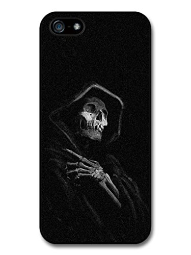 Scary Goth Grim Reaper Death Rocker Skull in Hood case for iPhone 5 5S