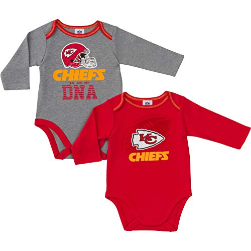 NFL Kansas City Chiefs Unisex-Baby 2-Pack Long-Sleeve Bodysuits, Red, 0-3 Months ()