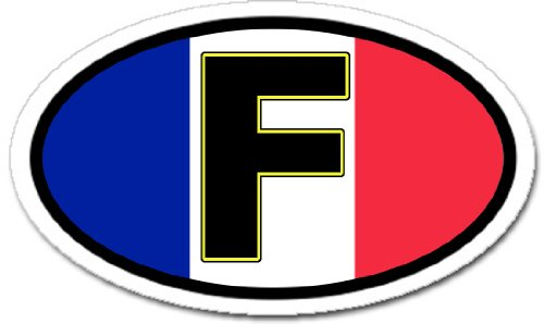 F France and French Flag Car Bumper Sticker Decal Oval (Flag Sticker French)