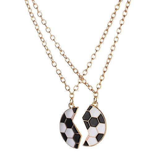 Anklet Soccer (Lux Accessories Gold Tone Black White Enamel Broken Soccer Ball BFF Necklace Set)
