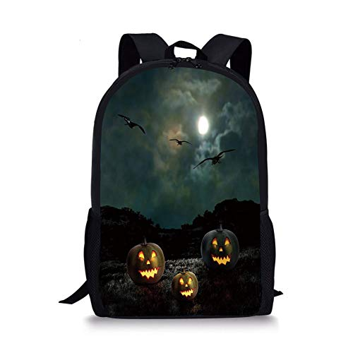 School Bags Halloween,Yard of an Old House at Night Majestic Moon Sky Creepy Dark Evil Face Pumpkins Decorative,Multicolor for Boys&Girls Mens Sport Daypack -