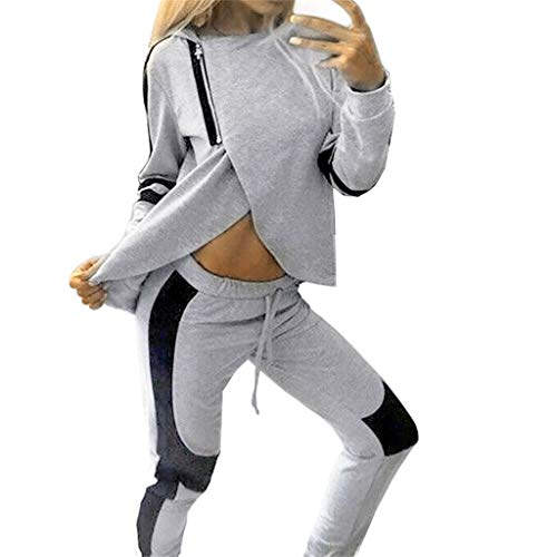 Women Tracksuit 2 Piece Patchwork Irregular Hem Hoodie Sweatshirt Pants Set Spring Autumn Jogger Running Sweat Suits (Gray, L)