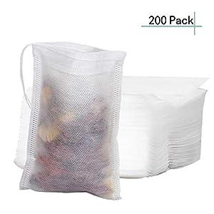 Bolsas de filtro de t/é desechables de papel sin blanquear FineGood reutilizables con colador de hojas sueltas seguros 2 unidades con cord/ón