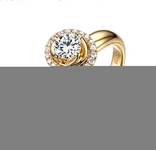 Gnzoe Rose Gold Women Wedding Rings Solitaire Engagement Rings Crown Flowers Yellow with White Blue 0.5ct Diamond Size 10 by Gnzoe