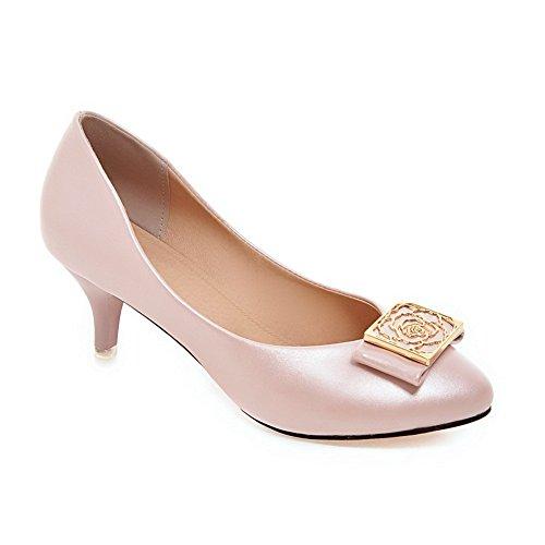 1to9 Filles Ornement En Métal Chaton-talons Bout Rond Pompes En Polyuréthane-chaussures Rose