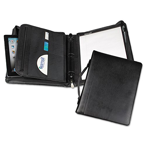 (Samsill 15540 Leather Multi-Ring Zippered Portfolio Two-Part 1-Inch Cap 11 x 13-1/2 Black)
