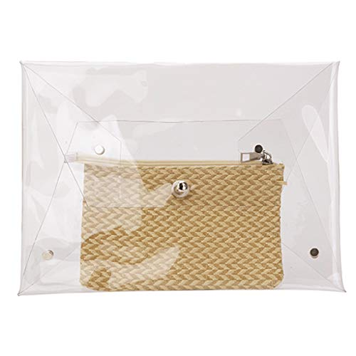 - LUXISDE 2PCs Fashion Women's Transparent Envelope Bag Clutch Bag Cosmetic Bag+Small Bag