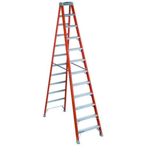 Louisville Ladder FS1512 300-Pound Duty Rating Fiberglass Step Ladder, 12-Feet, Red -