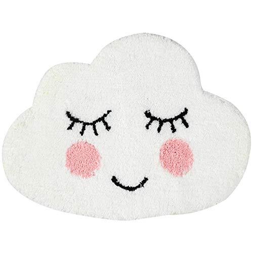 HYST Playtime Cozy Cute Cloud Shaped Bedroom Bathroom Doorway Kitchen Floor Rug Carpet Water Absorption Non-Slip mat for Kid's Room (White, 86x64cm) (Cloud Shaped Rug)
