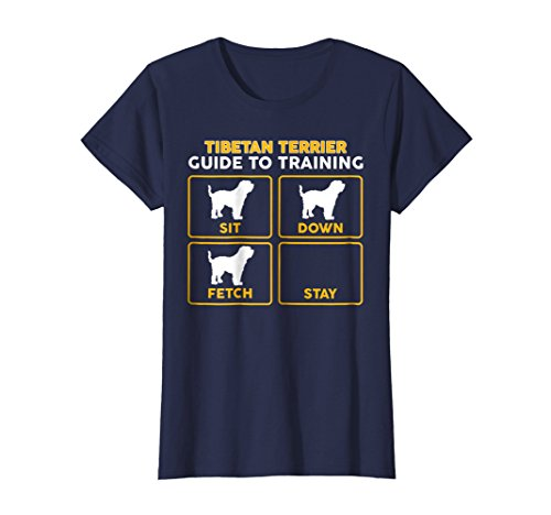 Womens Tibetan Terrier T-Shirt | Funny Guide To Training Large Navy