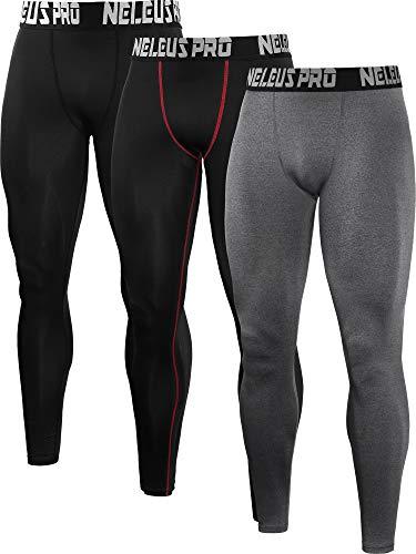 - Neleus Men's 3 Pack Compression Pants Sport Running Leggings,6019,Black,Red Stripe,Grey,M,EU L
