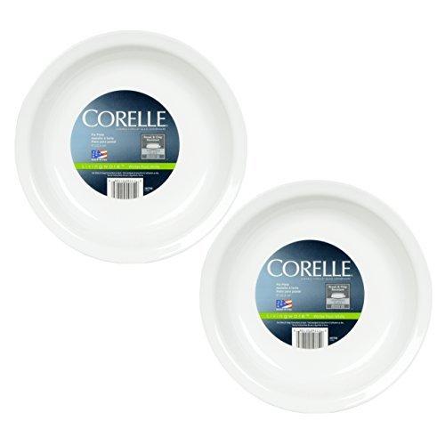 Corelle Livingware 9-Inch Deep Dish Pie Plate, Winter Frost White - 2 Pack