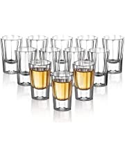 ELIVIA Shot Glass Set Clear Glasses for Whiskey and Liqueurs