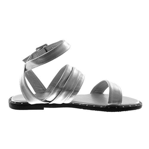 Angkorly Damen Schuhe Sandalen - Knöchelriemen - Schleife - Nieten - Besetzt - String Tanga Blockabsatz 1 cm Silber