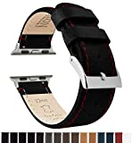 Barton Leather Watch Bands Compatible with All Apple Watch Models - 42mm Black Leather & Red Stitching