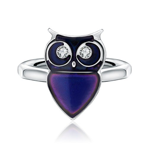 White Without Stones Ring (Color Changing Mood Ring Owl Shaped Imitation White Gold Plated Thermochromic Liquid Crystal Ring(without Glitter Powder) (8.5))