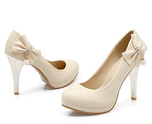 YE Damen High Heels Pumps mit Plateau und Schleife Glitzer Strass Party Office Schuhe Beige