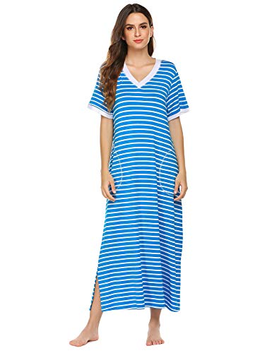 Ekouaer Stripe Nightgown Comfy Sleepwear Lounge Dress (Blue White Stripe, Small)
