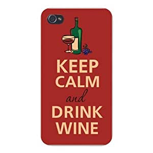Apple Iphone Custom Case 5 / 5s White Plastic Snap on - Keep Calm and Drink Wine Bottle, Glass, & Grapes