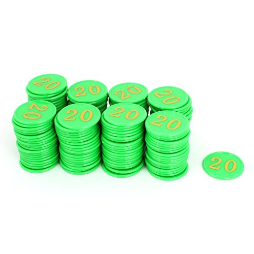 Números DealMux Card Casino de plástico verde 20 Teste padrão redondo Poker Chips 160pcs by DealMux