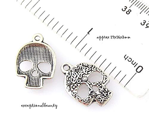 Pendant Jewelry Making 10 Candy Skull 19mm Dia De Los Muertos Day of The Dead Halloween Bead Charms -