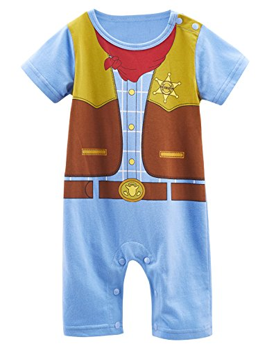 Mombebe Baby Boys' Western Cowboy Costume Romper (0-6