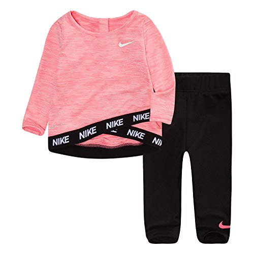 Nike Kids Girls Sets - NIKE Children's Apparel Girls' Toddler Long Sleeve Top and Leggings 2-Piece Set, Black/Pink Nebula, 3T