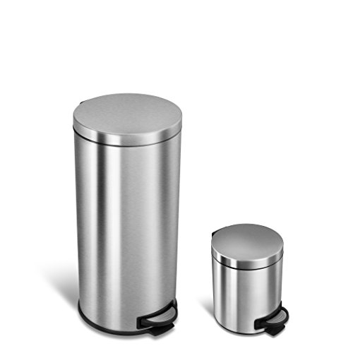 NINESTARS CB-SOT-30-15-1 Step-on Round Trash Can COMBO SET, 8 Gal. 30 L. & 1.3 Gal. 5 L., Stainless Steel (Cross 2 Step Commercial)