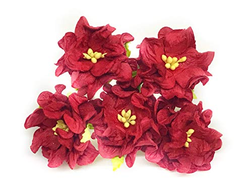 Savvi Jewels 1.5 inch Red Mulberry Paper Flowers with Wire Stems, Gardenia Flowers, Mini Paper Flowers, Wedding Decoration Craft Scrapbooking Flowers Bouquet 25 -