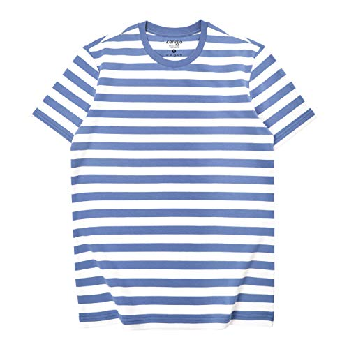 Zengjo Essential Stripes T-Shirts Comfort Short-Sleeve Crew-Neck Striped Tee Top (L, Cornflower Blue&White WD) -