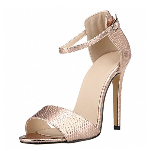 Haodasi Damen Frau Sommer Krokodil Muster Peep Toe High Heels Schnalle Sandalen Schuhe