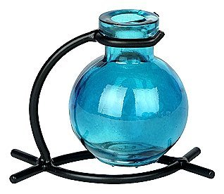 chic decorative floral colored glass flower bud vase glass ware 1pc g79 aqua glass - Colored Glass Vases