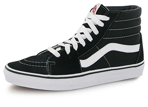 Vans Unisex Sk8 Hi Canvas High Top Lace Up Trainer Black/Black/White Men's 8, Women's 9.5 US.