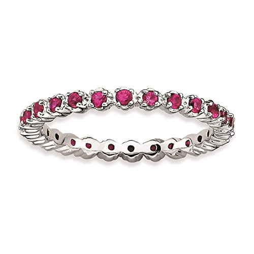 [925 Sterling Silver Polished Rhodium-plated Created-Ruby Eternity Ring by Stackable Expressions Size 5] (Created Ruby Eternity Ring)