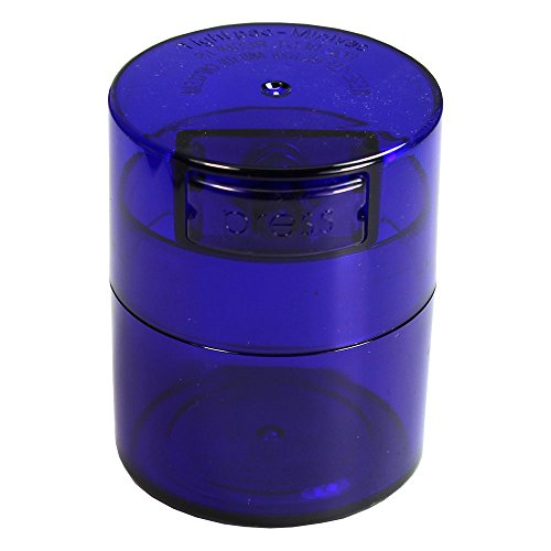 Minivac - 10g to 30 grams Airtight Multi-Use Vacuum Seal Portable Storage Container for Dry Goods, Food, and Herbs - Blue Tint