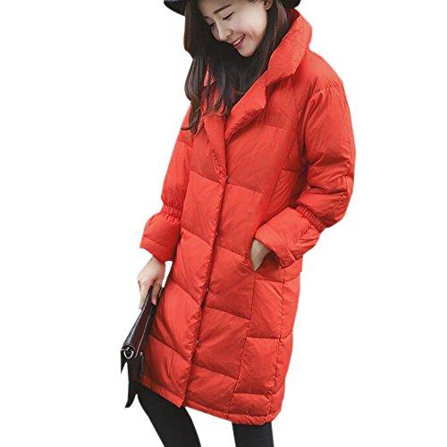 Down Lapel Coat Jacket Puffer Orange Ladies Down Winter Womens XFentech 0xqXRR