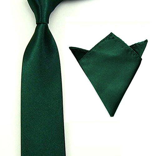 Skinny 2' Necktie Tie (Men Satin Slim Skinny 2'' (5cm) Necktie Pocket Square Set (Dark Green))
