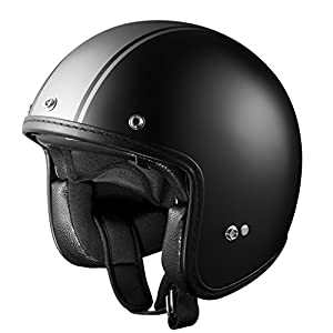 GLX Fiberglass Moped 3/4 Open Face Scooter Bobber Motorcycle Helmet DOT Approved + Clear and Tinted Shield (Matte Black Grey Strip, X-L)