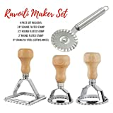 Cook's Fancy 4-Piece Ravioli Maker Stamp and Pasta Wheel Set, Includes Square and Round Dough Cutters plus Stainless-Steel Cutting Wheel for Fresh Pasta